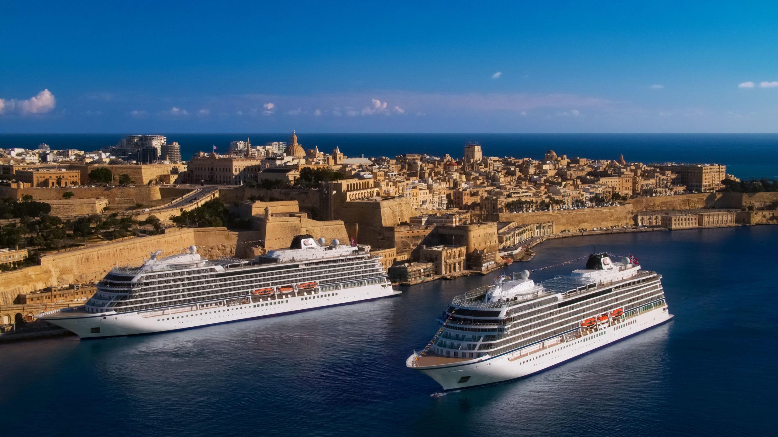 Viking Sea and Viking Venus outside Valletta